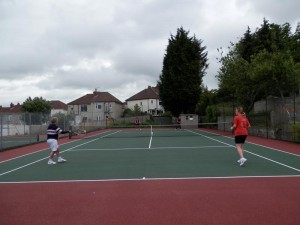 Hanka admires Jean's inside out forehand