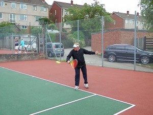 Pete hitting a backhand from the 70s