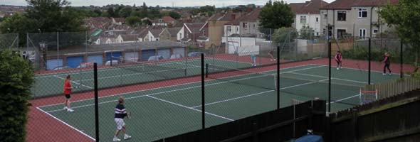 A view of both courts at the Crescent Lawn Tennis Club in Brislington, South Bristol