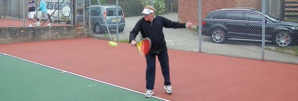 Pete Martin hitting a massive backhand
