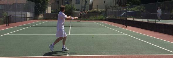 Shane preparing for a big forehand
